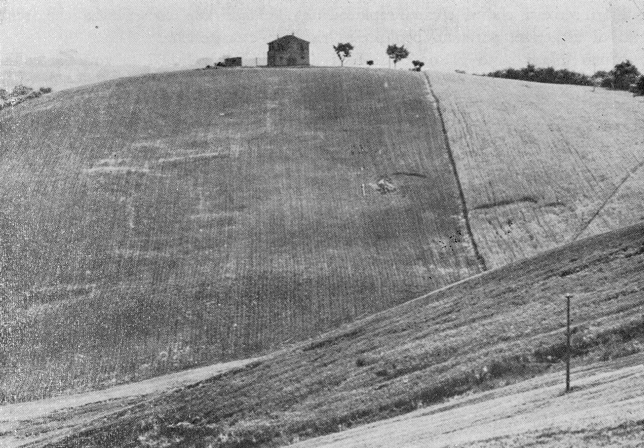 Inizio di smottamenti su una collina argillosa completamente disalberata (Proposte e Ricerche, 1978)