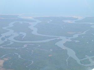 L'ampio delta del fiume Ruvuma colonizzato da estese foreste di mangrovie