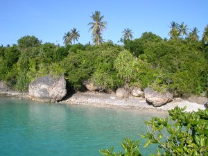 La rocciosa spiaggia di Mangapwani