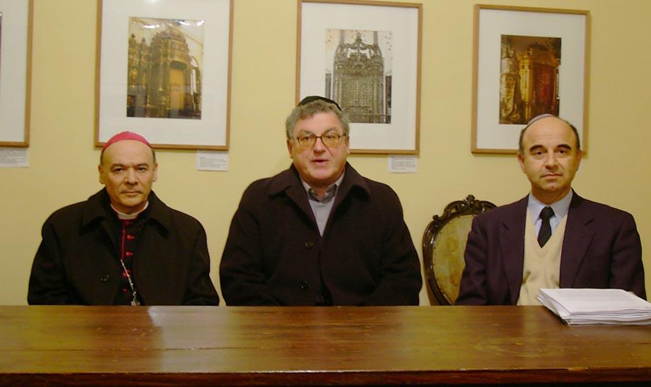 Mons. Giuseppe Orlandoni, Don Gesualdo Purziani e Remo Morpurgo in Sinagoga