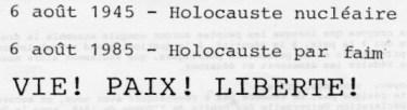 5 agosto 1985 a Parigi: il titolo del volantino