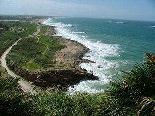 La costa israeliana a nord di Haifa, in prossimità del confine con il Libano, vista da Rosh Ha' Nikra