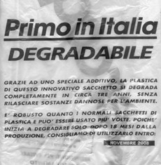 "Sacchetto di plastica ""degradabile"""
