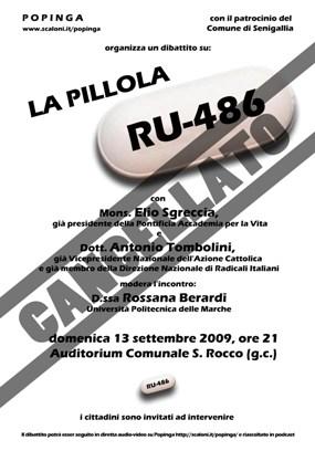 Pillola RU 486: il dibattito del 13 settembre è stato cancellato