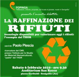 La raffinazione dei rifiuti - convegno di sabato 6 febbraio - Senigallia