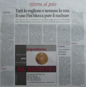 Libero, 18/09/2010, pag. 9, Stato del nucleare in Italia e nel mondo